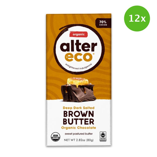 BULK DEAL 12x ALTER ECO Salted Brown Butter Organic Dark Chocolate 80g