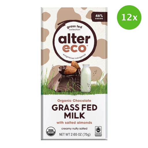 ALTER ECO Chocolate (Organic) Grass Fed Milk with Salted Almonds - 75g