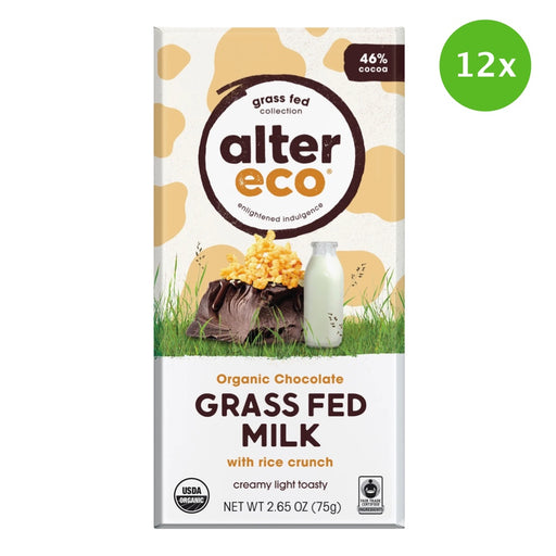 ALTER ECO Chocolate (Organic) Grass Fed Milk with Rice Crunch - 75g