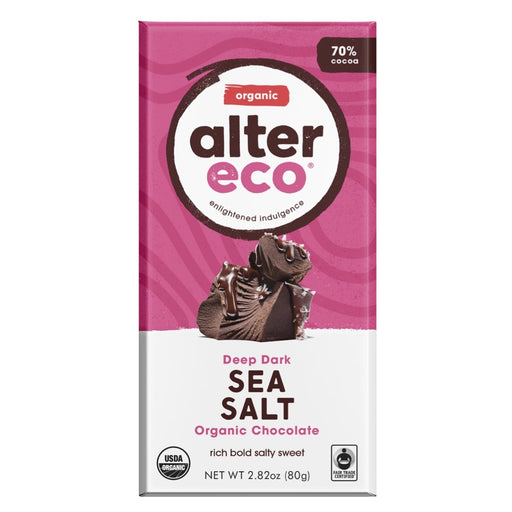 ALTER ECO Organic Deep Dark Chocolate with Sea Salt 70% Cocoa 80g