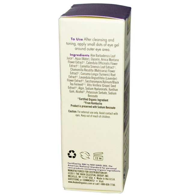 Avalon Organics Lavender Revitalising Eye Gel 30ml Back