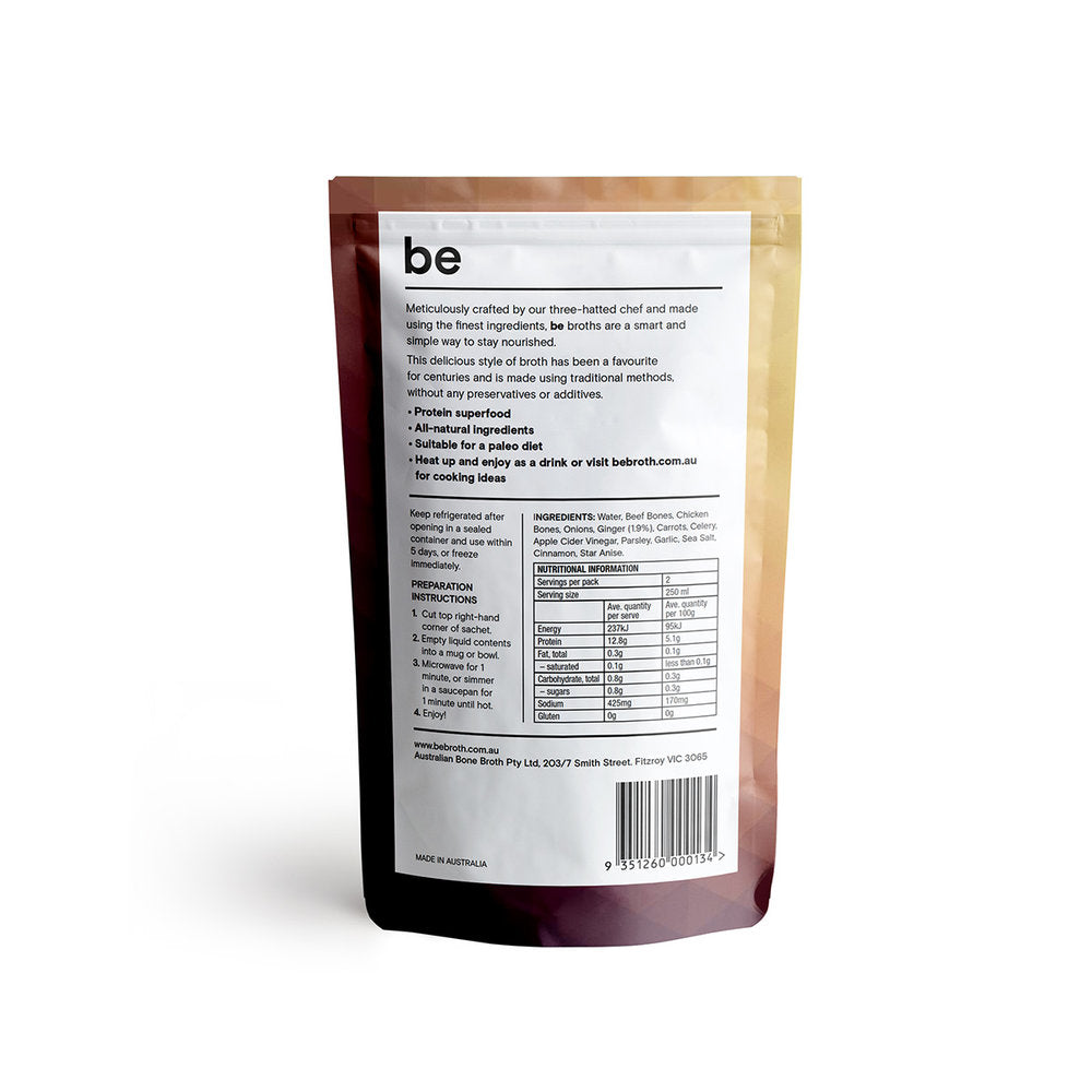 BE BROTH Beef Broth infused with Ginger 250ml Information