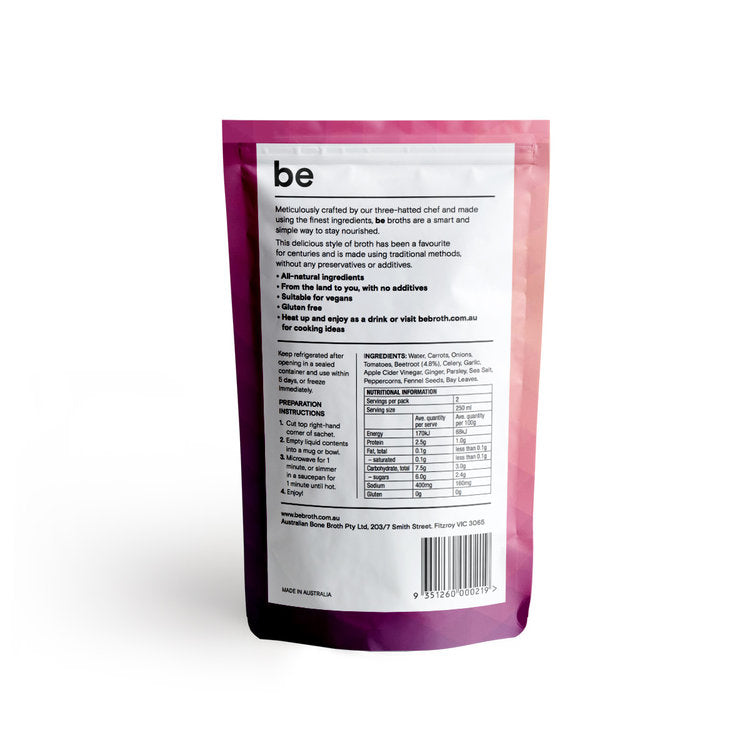 BE BROTH Vegetable infused with Beetroot Broth 250ml Information
