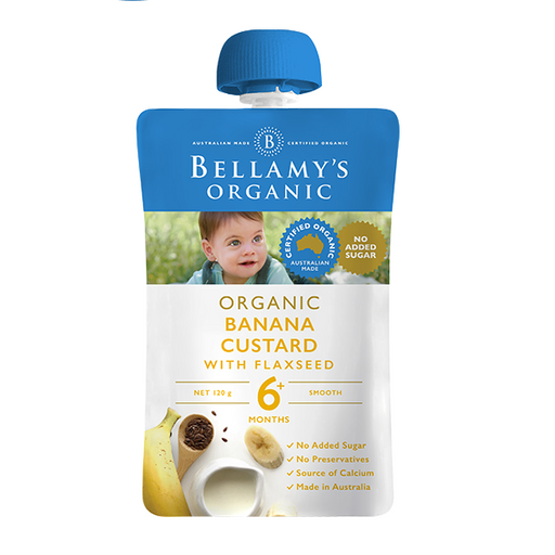 Bellamys Organic Banana Custard with Flaxseed