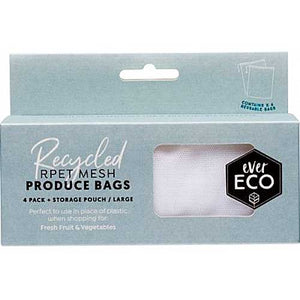 EVER ECO Reusable Produce Bags 4 Pack + Storage Pouch 4