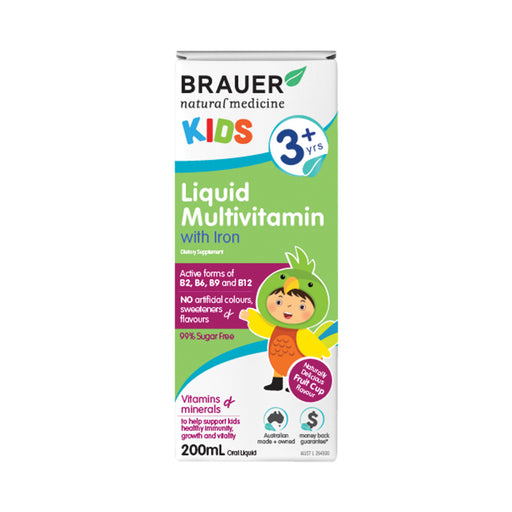 Brauer Kids 3+ years Liquid Multivitamin with Iron