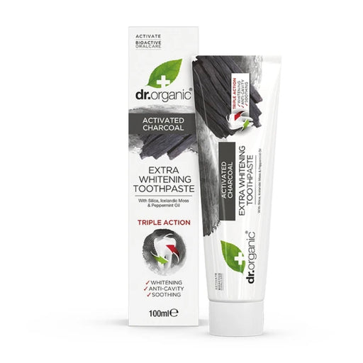 DR ORGANIC Activated Charcoal Toothpaste Extra White Bioactive 100ml