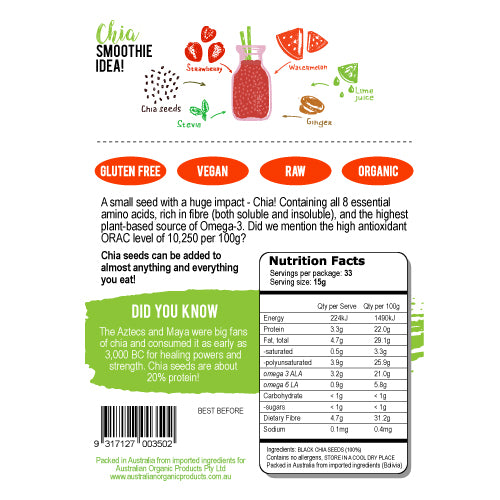 Back label chia seeds organic