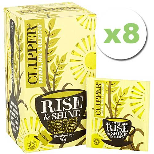 Bulk Deal: 8x Clipper Tea High End Herbal Rise & Shine Organic Enveloped 20 tbags