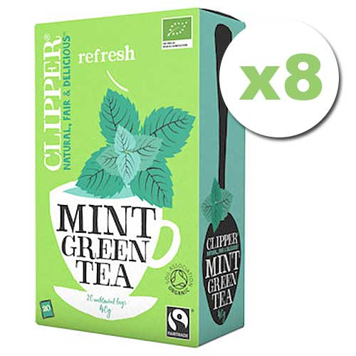 Bulk Deal 8x CLIPPER Organic Green Tea Mint 20 teabags