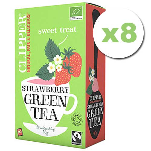 Bulk Deal 8x CLIPPER Organic Green Tea Strawberry 20 teabags