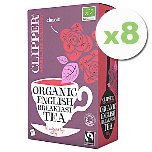 Bulk Deal 8 x CLIPPER Organic English Breakfast Tea 20 teabags