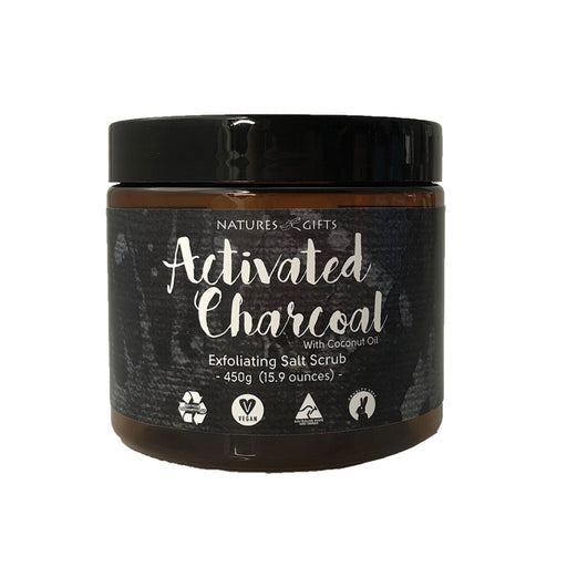 Clover Fields Nature's Gifts Activated Charcoal Scrub with Coconut Oil Exfoliating Salt