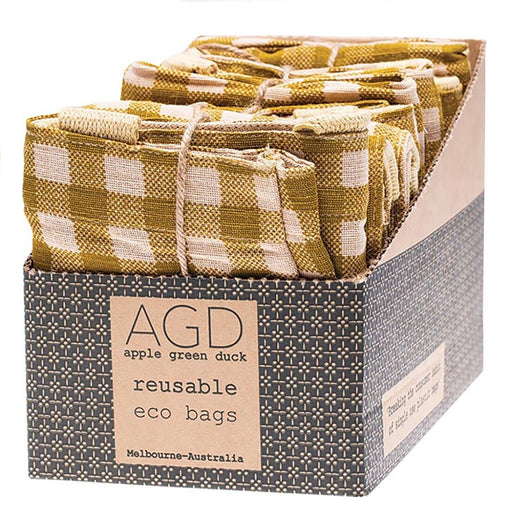 Apple Green Duck Olive Gingham Tote Reusable Shopping Bags