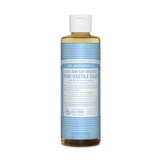Dr. Bronner's Pure-Castile Baby Unscented Liquid Soap (Hemp 18-in-1)