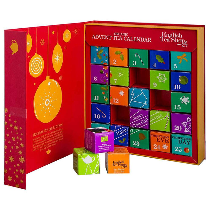 ENGLISH TEA SHOP Organic Tea Advent Calendar Red Book Style Gift Unpacked