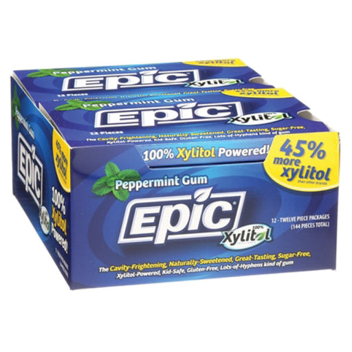 Epic Xylitol Peppermint Dental Gum 12pc Blister Pack x 12 Pk