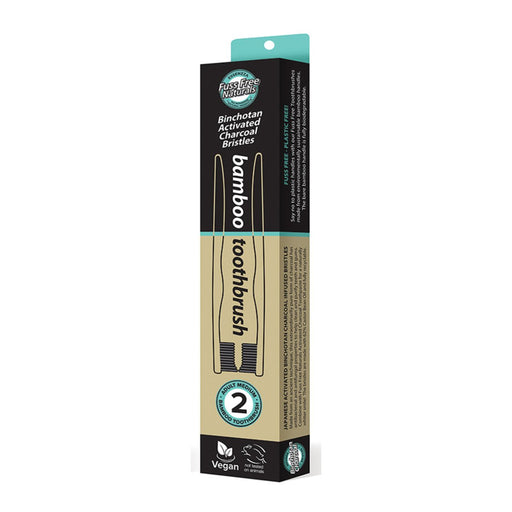 Essenzza Fuss Free Naturals Bamboo Activated Charcoal Medium Toothbrush 2 Pack