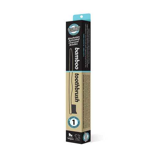 Essenzza Fuss Free Naturals Bamboo Activated Charcoal Soft Toothbrush 1 Pack