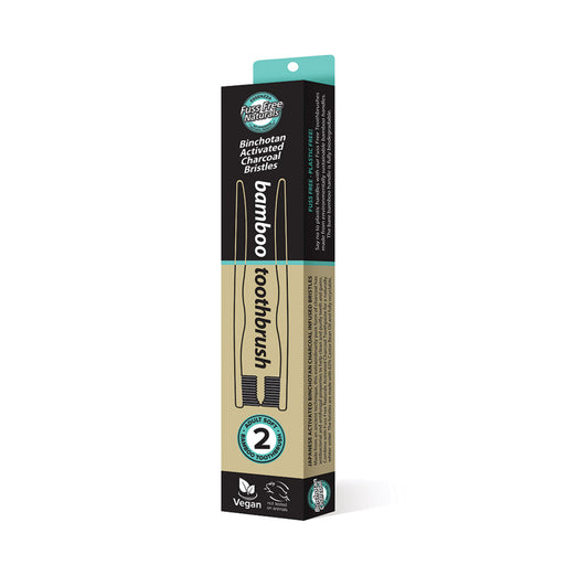 Essenzza Fuss Free Naturals Bamboo Activated Charcoal Soft Toothbrush 2 Pack