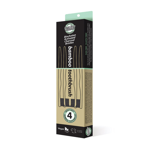 Essenzza Fuss Free Naturals Bamboo Activated Charcoal Soft Toothbrush 4 Pack