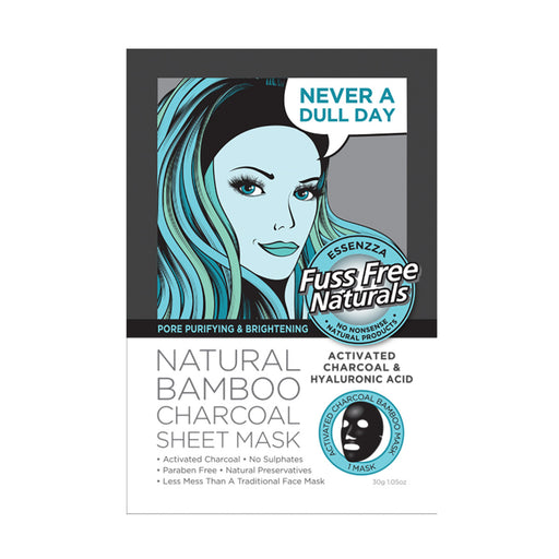 Essenzza Fuss Free Naturals Activated Charcoal & Hyaluronic Acid Facial Mask x 1 Pack
