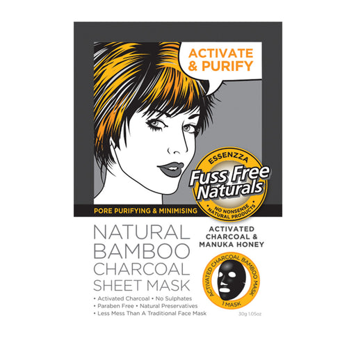 Essenzza Fuss Free Naturals Activated Charcoal & Manuka Facial Mask x 1 Pack