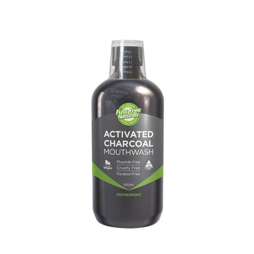Essenzza Fuss Free Naturals Activated Charcoal Peppermint Mouthwash