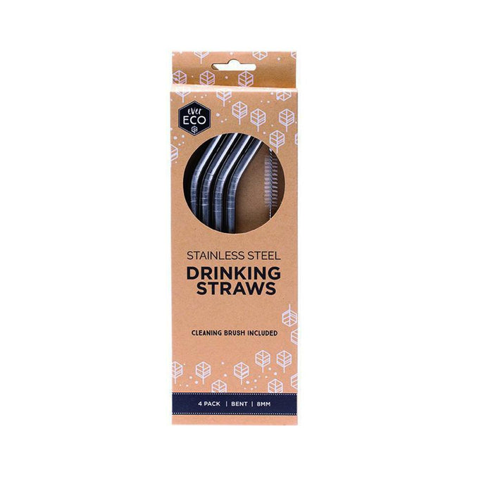 EVER ECO 4 Pack Bent Stainless Steel Straws