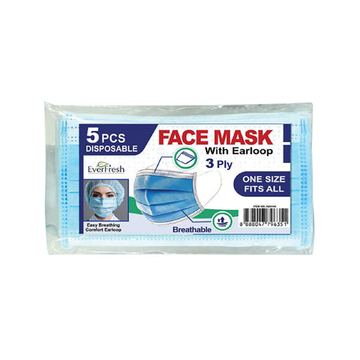 Face Mask CE Certified with Earloop 3Ply x 5 Pack