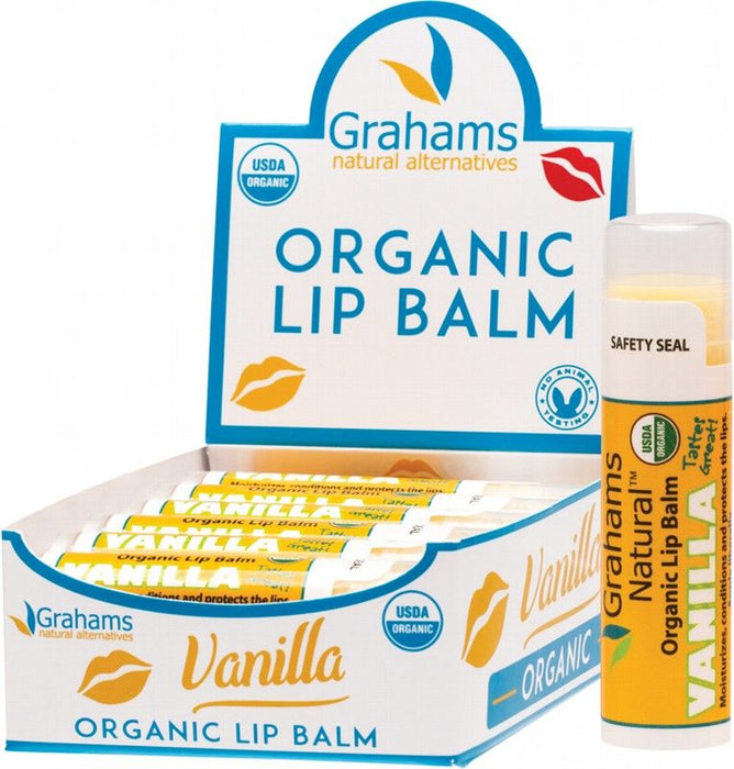 GRAHAMS NATURAL Display of 12 Vanilla Organic Lip Balm