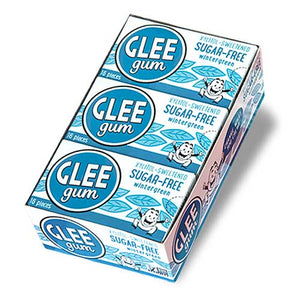 GLEE GUM Sugar free Chewing Gum Wintergreen Box x 12 BULK
