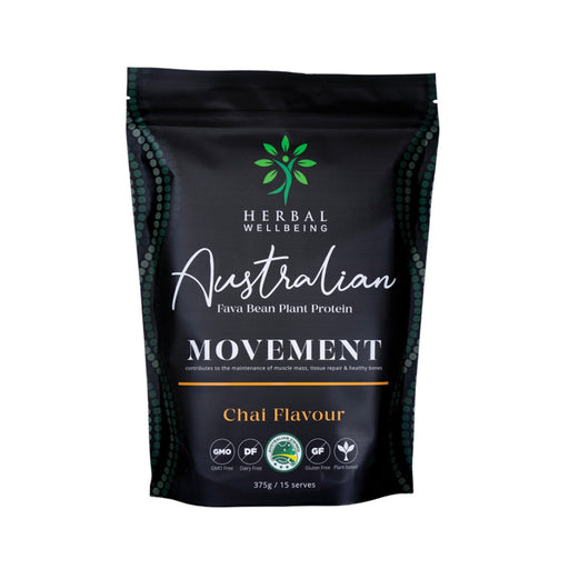 Herbal Wellbeing Australian Fava Bean Plant Protein Movement Chai 375g