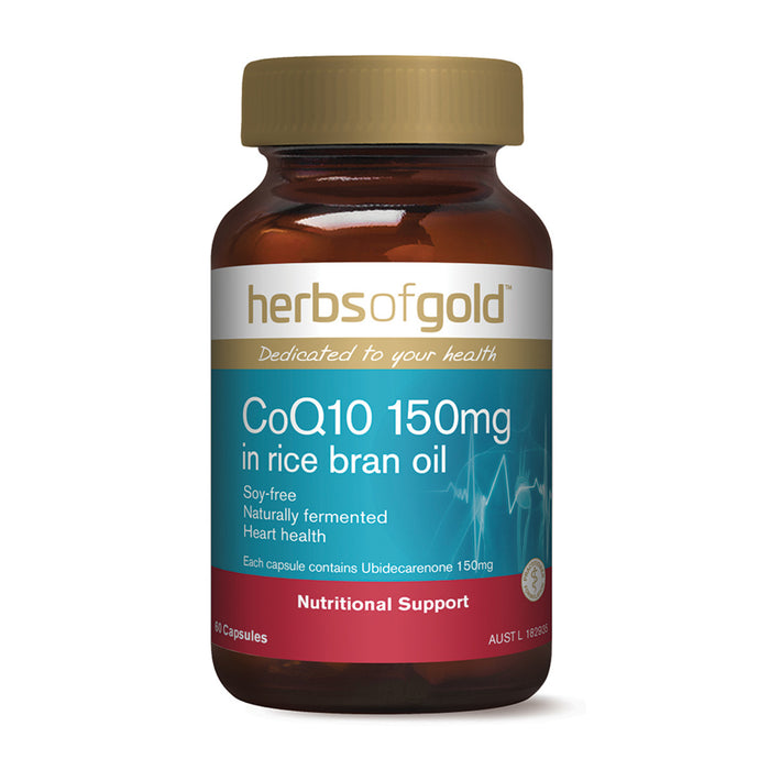 Herbs Of Gold Co Q10 150mg in Rice Bran Oil 60c