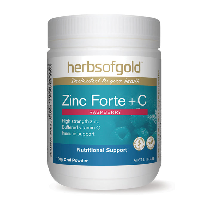 Herbs of Gold Raspberry Flavour Zinc Forte + C 100g Oral Powder