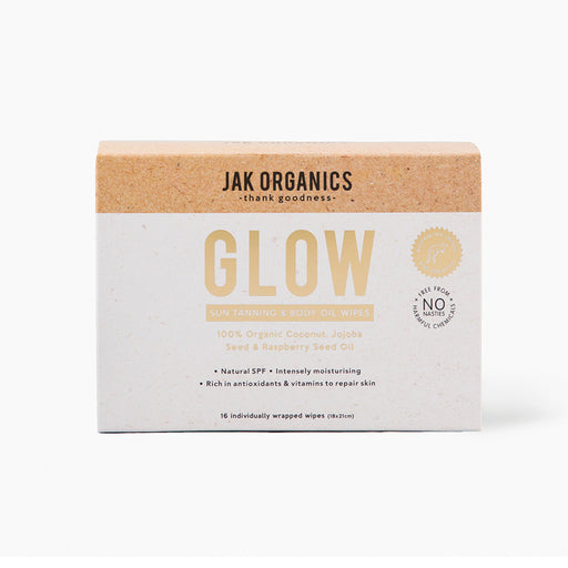 Jak Organics Sun Tanning & Body Oil Wipes-Org Coconut Jojoba & Raspberry Oil Glow Wipes  x 16 Pack