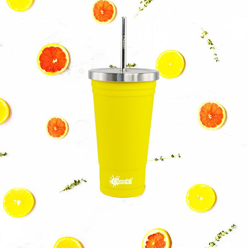 CHEEKI Insulated Tumbler with Stainless Steel Straw - 500ml Lemon