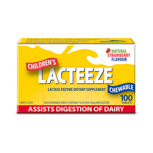 Lacteeze Chewable Strawberry Flavour Children's Strength 100t