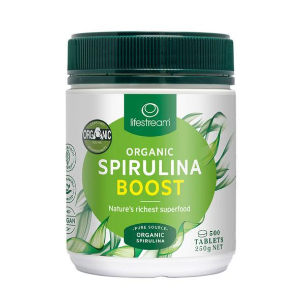 LifeStream Organic Spirulina Boost 500mg 500 Tablets