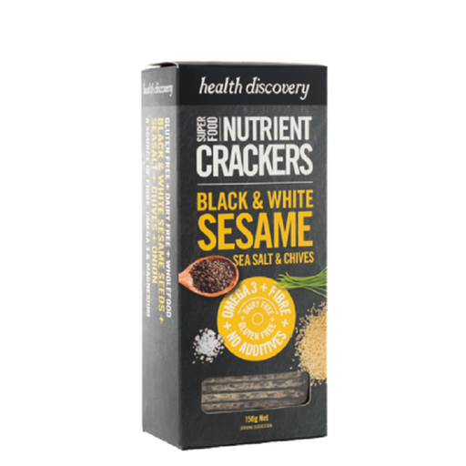 Health Discovery Black & White Sesame, Sea Salt & Chives Nutrient Crackers