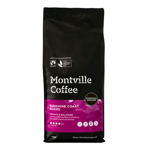 Montville Coffee Organic Sunshine Coast Blend Espresso Ground 1kg
