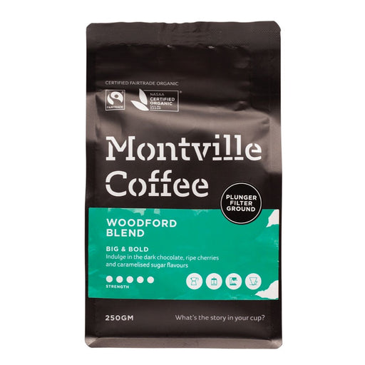 MONTVILLE COFFEE Coffee Ground (Plunger) Woodford Blend 250g