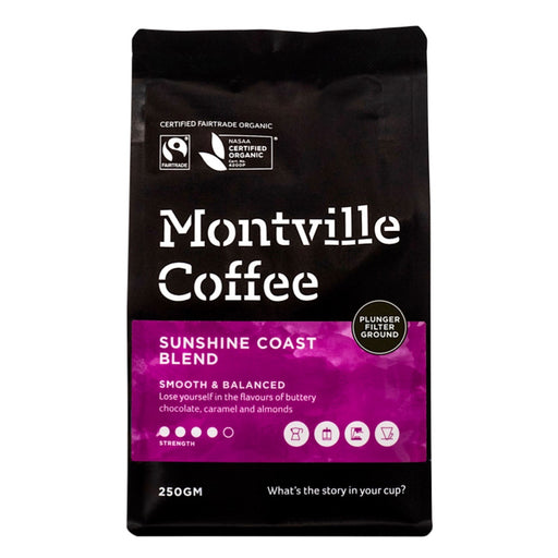 Montville Coffee Organic Sunshine Coast Blend Plunger Filter Ground 250g