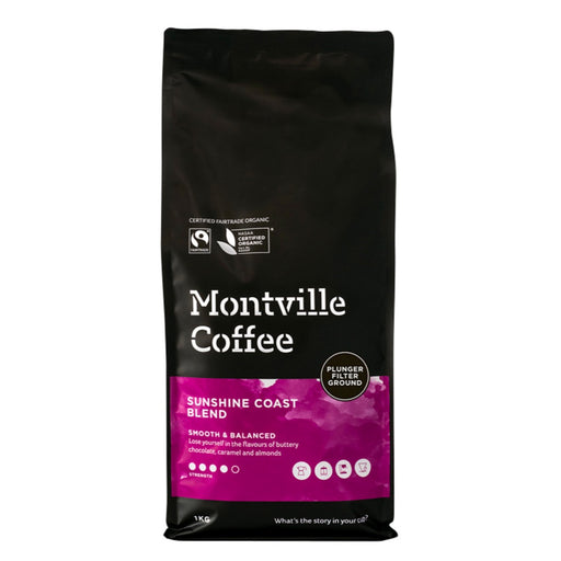 Montville Coffee Organic Sunshine Coast Blend Plunger Filter Ground 1kg
