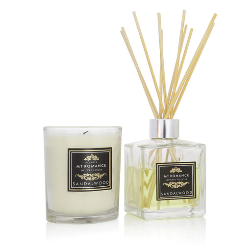 Mount Romance Sandalwood Reed Diffuser and Soy Candle Pack