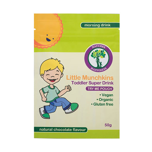 Natures Happiness Little Munchkins Toddler Super Drink (Morning) Natural Chocolate Pouch 50g