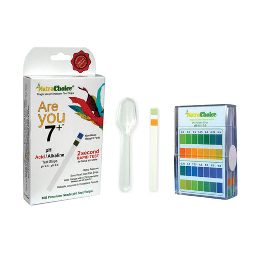 NatraChoice Are you 7+ Instant Result pH Test Kit Acid/Alkaline Saliva & Urine 100 Prem Strips Pack