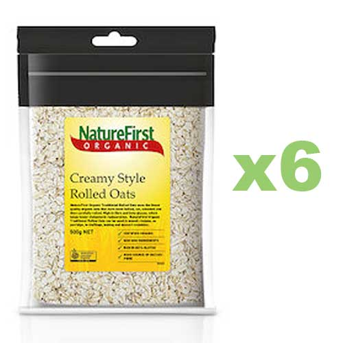 NATURE FIRST Organic Rolled Oats Creamy 500g x6 BULK
