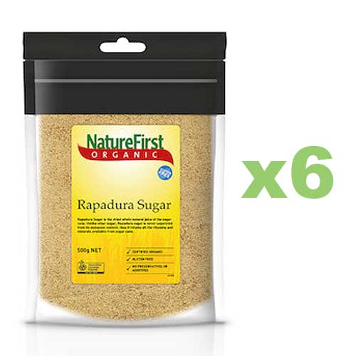 NATURE FIRST Organic Sugar Rapadura 500g x6 BULK