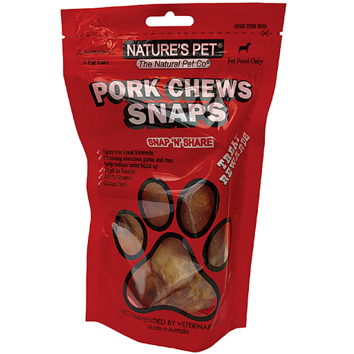 NATURE'S PET Pork Chews Snaps (Pigs Ears) 2 Pack
